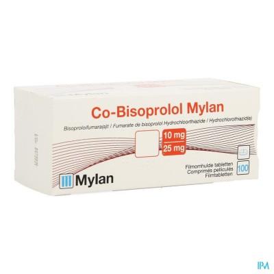 Co Bisoprolol Mylan 10mg/25,0mg Omhulde Tabl 100