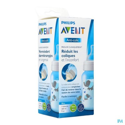 Philips Avent A/colic Zuigfles 260ml Blauw SCF821/15